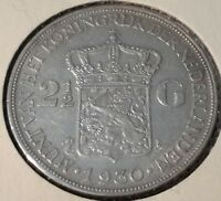 Netherlands 2-1/2 Gulden, 1930 Y-47 Queen Wilhelmina silver crown