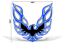 "42"" X 42"" Firebird Hood Graphic Decal Sticker For Pontiac Trans Am BLUE BLACK"