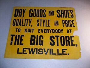 ANTIQUE  VINTAGE THE BIG STORE LEWISVILLE DRY GOODS & SHOES CARDBOARD SIGN