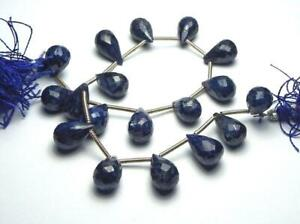 "8"" Strand BLUE SAPPHIRE 11-12mm Faceted Teardrop Beads"