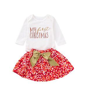US 3PCS Baby Girl Dress Christmas Outfits Tops Shirt Bow Short Skirt Xmas Set