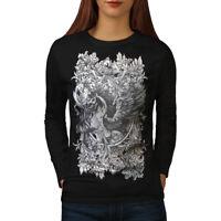 Wellcoda Epic Unicorn Horse Womens Long Sleeve T-shirt, Mythical Casual Design