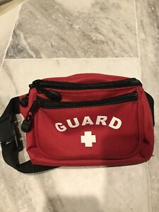 Red Nylon Lifeguard First Aid Fanny Pack Small Spot Shown