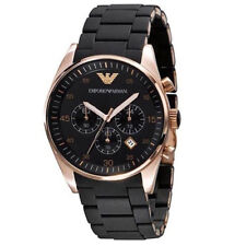 ff7be54bb40 New In Box Emporio Armani AR5905 Black and Gold Chronograph Dial Men s Watch