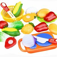 12 Pcs/Set Kids Toy Plastic Fruit Vegetable Food Cutting Pretend Play Early J4Z9