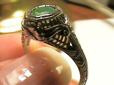 SILVER Colombian NATURAL EMERALD ring 6 SMALL filigree STERLING 925 artisanal