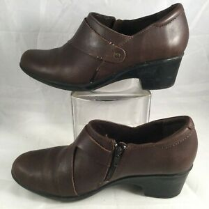 Clarks Shooties Womens Brown Leather Cushion Ankle Shoes Zip US 9