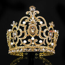 14cm High Super Large Full Gold Crystal Crown Tiara Wedding Prom Party Pageant