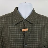 Ermenegildo Zegna Italy Mens Dark Green Check L/S Dress Button Shirt Sz XL