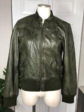 ASOS Womens UK 16 Olive Green 100% Leather Zip Front Bomber Jacket