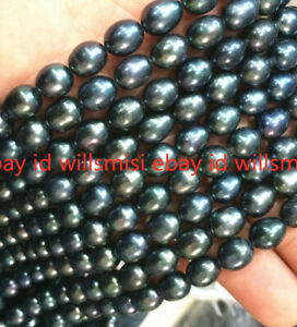 New 7-8MM NATURAL SOUTH SEA BAROQUE BLACK PEARL Loose beads 14""