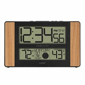 La Crosse Technology 513-1417 Atomic Digital Clock with Outdoor Temperature Oak