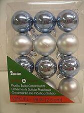 "MINIATURE Christmas 12 pc. Ball Ornaments 1"" - Blue / Silver - shatterproof"