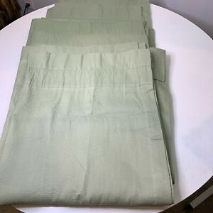 Croscill curtain panel set 4 solid color green quilted pattern rod pocket 38x84