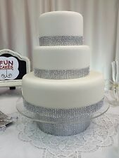 Fake Cake Fondant Covered Wedding Cake with Bling by FunCakes Three tier