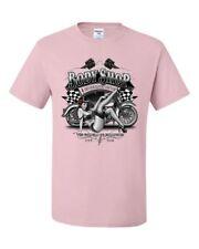 Retro Body Shop T-Shirt Chopper Sexy Pin-up Girl Route 66 Biker Tee Shirt