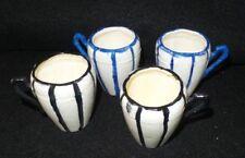 Vintage 4 Demitass hand painted Teacups  (2) black & white (2) blue & white
