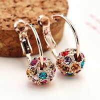 wsouy Woman Austrian Crystal Ball Colorful Earrings Lucky Transfer Beads Jewelry