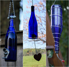 Blue and Silver Bird Feeder and Wind Chime Set - Gift for Mom - Deck Decor