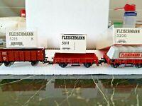 3 X Fleischmann  H0: - 5200 (mit Plane) + 5215 (Hochwg.) + 5011 (Flachwg.)-OVP