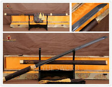 Black Damascus Japanese Ninja Sword Full Tang Shirasaya Sharp Straight Blade