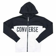 Boy's Converse Junior Colourblock Full Zip Cotton Blend Hoody in Blue