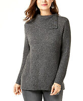 Style & Co | Snap Cowl-Neck Sweater | Grey | XS