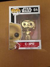 Star Wars FUNKO POP C-3PO BARNES & NOBLE EXCL METALLIC # 64 (missing sticker)