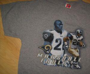 Marshall Faulk 28 Tee - Vintage St. Saint Louis Rams NFL Football T Shirt XLarge
