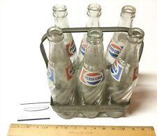 Vintage 1940s PEPSI: Double Dot Embossed Metal Bottle Carrier & 6 16 oz Bottles