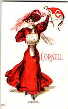 S21 2577 Vintage Postcard Cornell University Football Pennant Cheerleader 1908