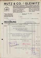 GLEIWITZ, Rechnung 1936, Wagen-, Autoplanen- u. Zelt-Fabrik Mutz & Co.