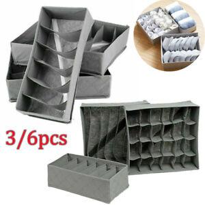3/6x Underwear Drawer Organiser Storage Box Bra Tidy Socks Bra Ties Draw Divider