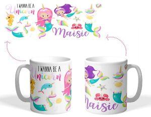 Personalised Printed Plastic/Ceramic childs mug mermaid unicorn Christmas  gift