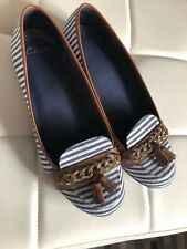 CLARKS Flat Shows UK 7 40 Navy White Stripe Gold Chain Pumps BNWOB