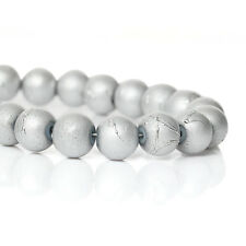 50 SILVER GREY Metallic Drizzle Glass Beads, Round, 8mm bgl0481