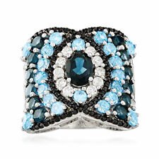 Blue Topaz & White Zircon Ring with Black Spinel in Sterling Silver