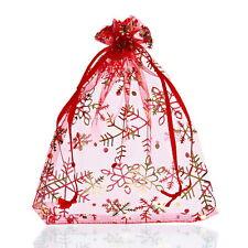 25PCs 12x16cm Premium Red Snowflake Organza Gift Bags Pouches Wedding/Christmas