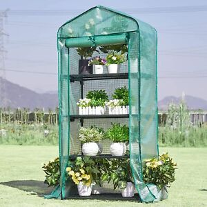 Mini Greenhouse 4 Tier PE Frame with Cover Rollup Door Garden Planting Outdoor