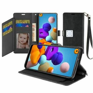 For Samsung A21 - Wristlet Metal Snap Wallet Two Row Credit Card Holder - Black