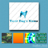 Custom Pug Dog Name Decal Sticker - 25 Printed Fills - 6 Fonts