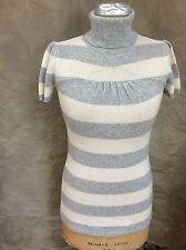 100% CASHMERE SWEATER BARNEYS NEW YORK Grey STRIPED Turtleneck C&C California S