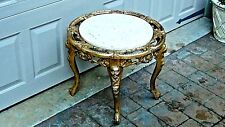 1920c ITALIAN GILT IRON(BRONZE)ORNATE 4 LEGS ROUND MARBLE TOP STAND,TABLE #1