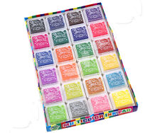 24 Multi Colours Ink Pad Fabric Wedding Finger Print Rubber Stamp For Paper Wood