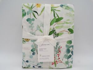 Pottery Barn Noel Botanical Organic Percale Sheet Set Twin XL #9807L
