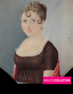ANTIQUE Early 1800s EMPIRE PERIOD FRENCH MINIATURE PAINTING WATERCOLOR Portrait