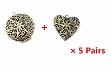10pcs Antique  Bronze Round Heart Shape Photo Locket Frame Pendants Charms