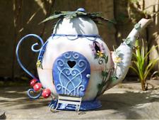 Handmade Rustic Metal Colourful Fairy Teapot house Patio/Garden Ornament (5306)