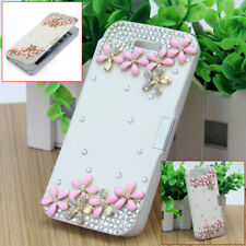 Luxury Rhinestone White PU Leather Case Cover Protective Skin for iPhone 5 5S