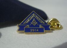 Masonic Lodge Officer WM Worshipful Master 2014 Year Lapel Pin Badge and Pouch